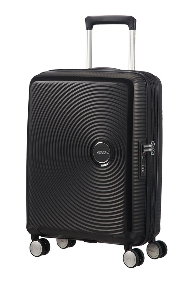 Afbeelding van American Tourister Soundbox Spinner 55 Exp. Bass Black Harde Koffers