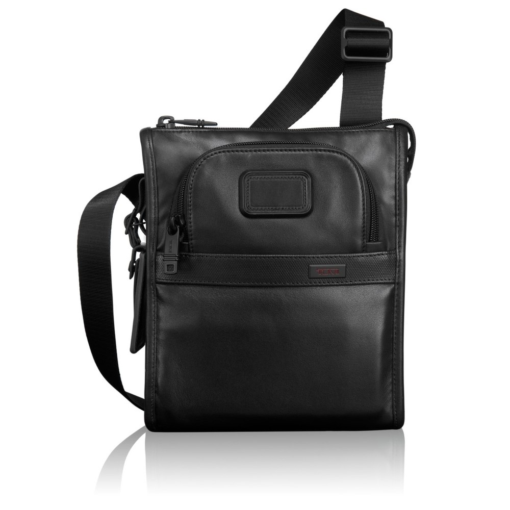 tumi alpha leather pocket bag s 92110 black