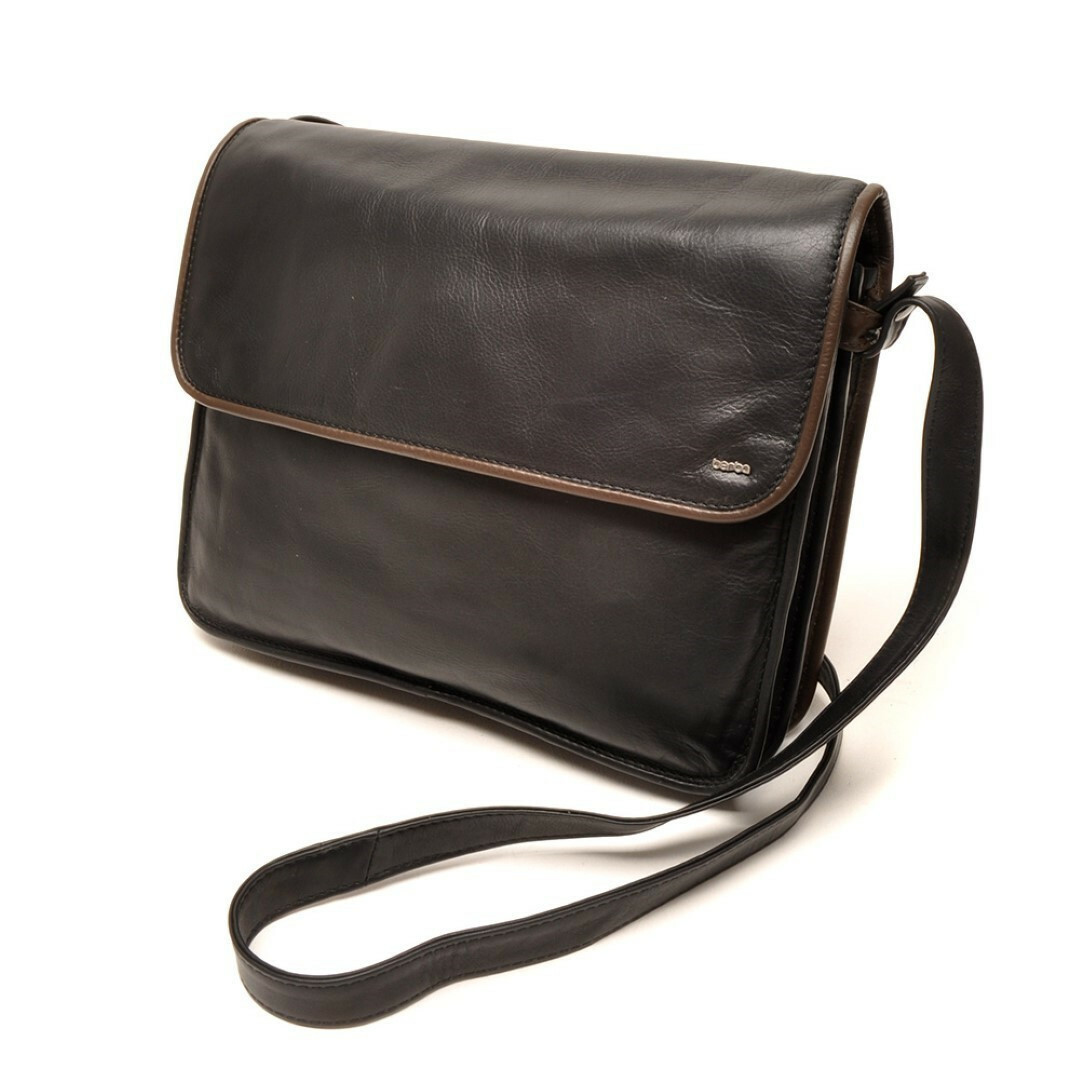berba soft flap bag large (14 black - taupe) - van beek