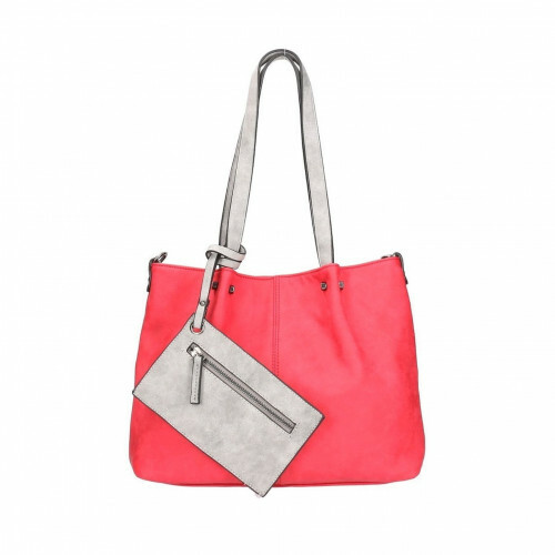 Meier Lederwaren BAG IN BAG M, 299 in de kleur 608 red-grey 4049391150488
