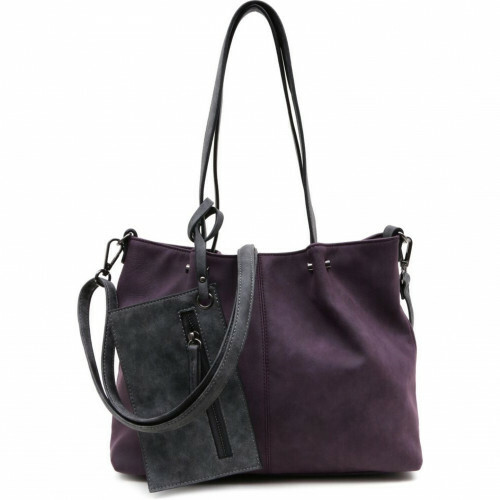 Meier Lederwaren BAG IN BAG M, 299 in de kleur 628 aubergine-grey 4049391217662