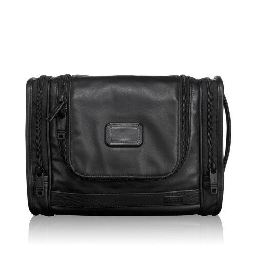 Tumi ALPHA 2 LEATHER TRAVEL KIT, 92191 in de kleur black 7423152188540
