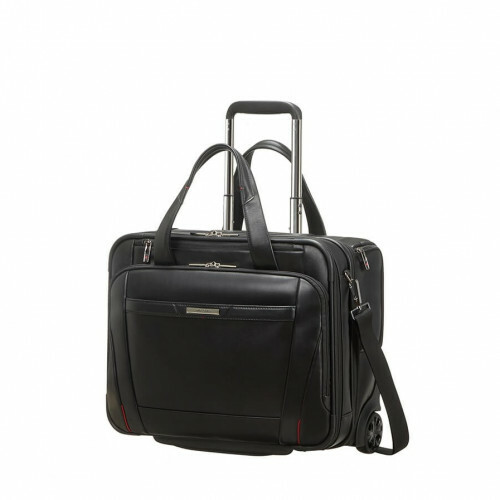 "Samsonite PRO-DLX5 LEATHER ROLLING TOTE 15,6"", CG8-013 in de kleur 09 black 5414847851377"