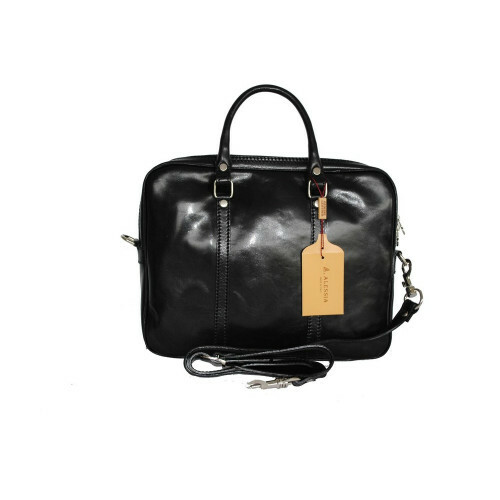 Alessia ITALIA LEDER COMPUTERBAG ZIP, NAN-4540 in de kleur black 123456789012