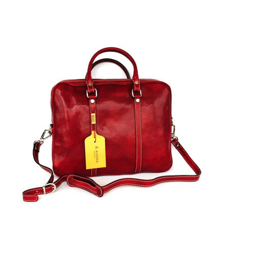 Alessia ITALIA LEDER COMPUTERBAG ZIP, NAN-4540 in de kleur red